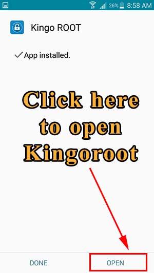Kingoroot installation complete