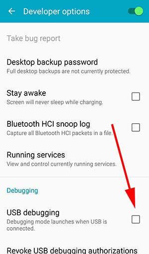 Enable USB debugging on Android version 8